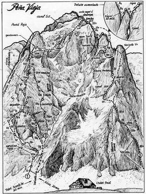 Dibujo de la guía Escalada en roca en los Picos de Europa