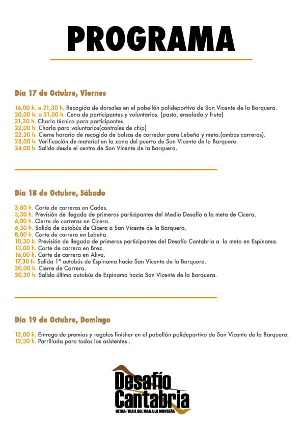 Programa III Desafio Cantabria 2014